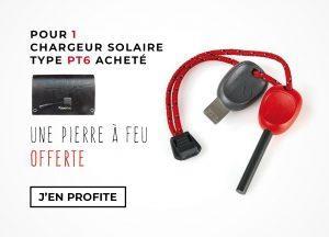 Pierre à feu offerte pour un chargeur solaire acheté